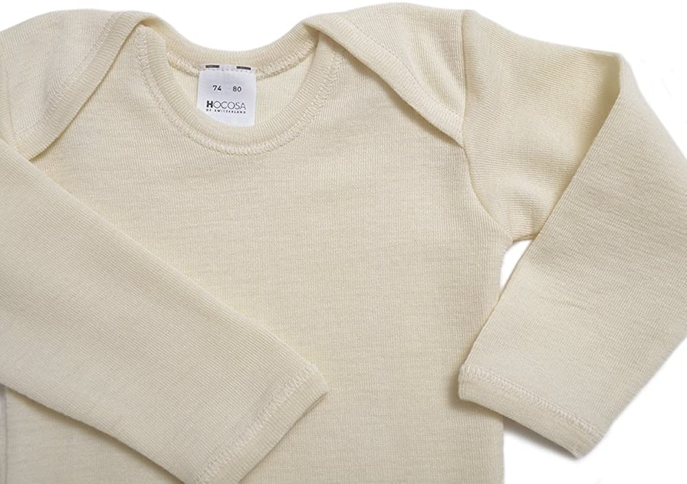 Long Sleeves Hocosa Organic Merino Wool Baby Shirt Envelope Neckline.