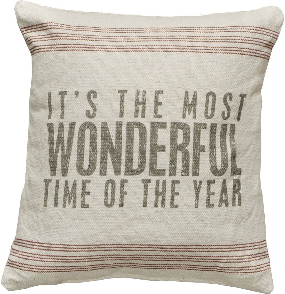 Primitives by Kathy Vintage Flour Sack Style Most Wonderful Holiday Throw Pillow, Time