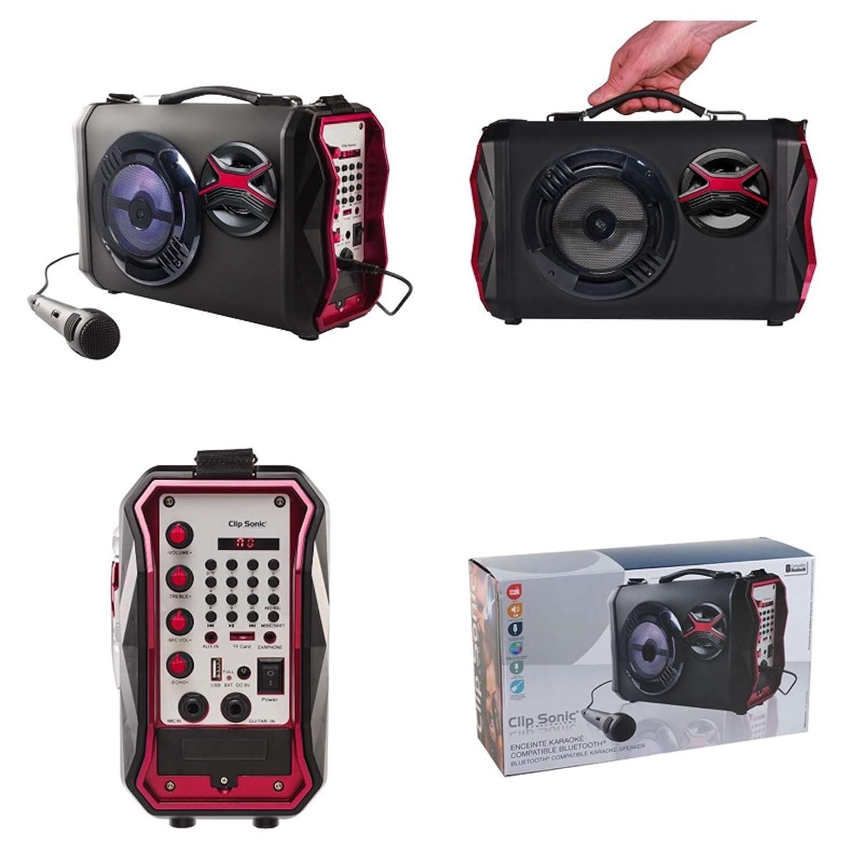 Tragbarer Bluetooth Lautsprecher Profi Karaoke Anlage Subwoofer Musik Box Tragbar Party-Anlage (USB Port, Karten Slot, LED Licht, Echo Effekt, Aufnahme Funktion, Recorder, Mikrofone) ClipSonic