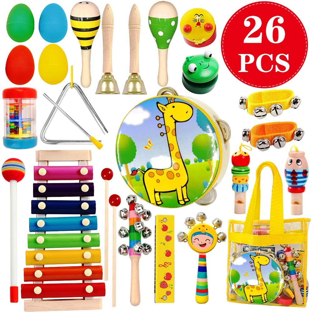 Amazon Com Toyerbee Musical Instruments Toys Set For Kids 26 Pcs Wooden Percussion Instruments For Toddlers Preschool Educational Music Toy With Storage Bag For Children Animal Tambourine Maracas More Toys Games