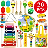 ToyerBee Musical Instruments Toys Set for Kids,26 PCS Wooden Percussion Instruments for Toddlers, Preschool& Educational…