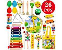 ToyerBee Musical Instruments Toys Set for Kids,26 PCS Wooden Percussion Instruments for Toddlers, Preschool& Educational Musi