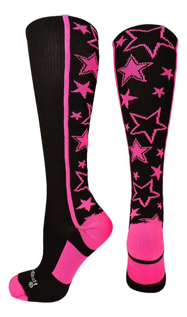 MadSportsStuff 靴下 クレイジーソックス ふくらはぎ一面の星 (選べるカラー) B074PLMPWT Small|ブラック/ネオンピンク ブラック/ネオンピンク Small