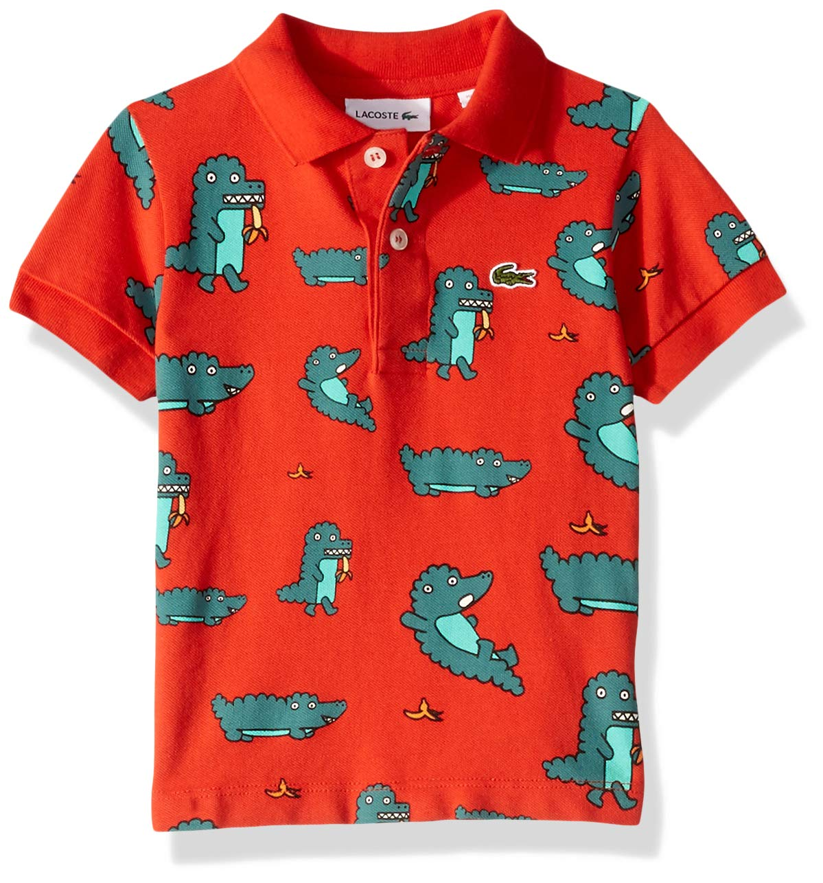 Lacoste Little BOY Fun Croc All Over Print Pique Polo, SALVIA, 6YR