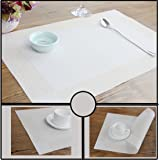 Dooppa PVC Insulation Non-slip Placemats Washable Table Mats Set of 4 (white and beige)