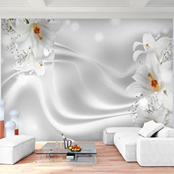 Fototapete Blumen Lilien Schwarz Weiß Vlies Wand Tapete Wohnzimmer  Schlafzimmer Büro Flur Dekoration Wandbilder XXL Moderne