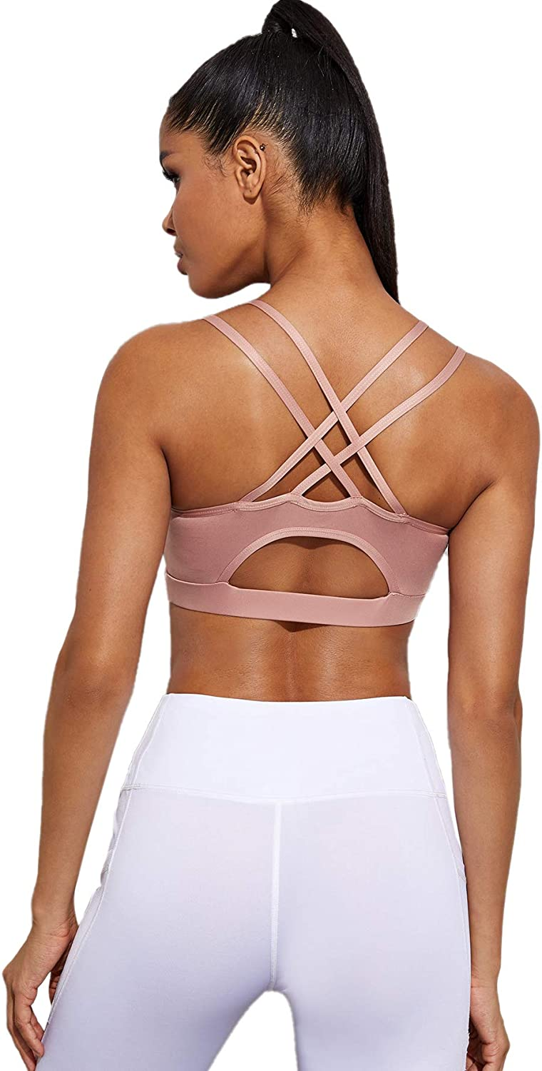 MakeMeChic Womens Strappy Sport Bras Yoga Tops Backless Activewear Workout Clothes