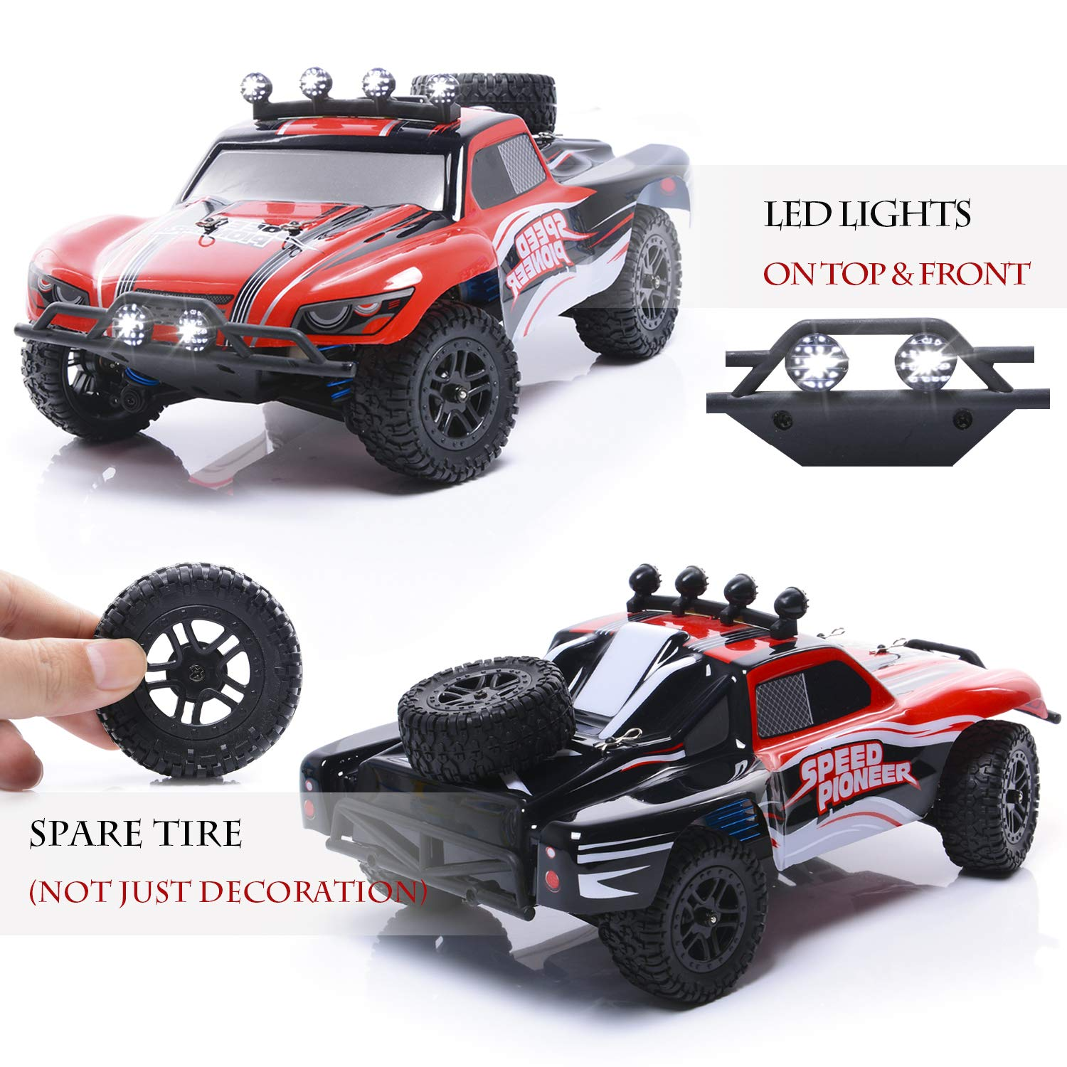 EXERCISE N PLAY RC Car, Remote Control Car, Terrain RC Cars, Electric Remote Control Off Road Monster Truck, 1:18 Scale 2.4Ghz Radio 4WD Fast 30+ MPH RC Car, with LED Ligh, 2 Rechargeable Batteries by EXERCISE N PLAY (Image #3)