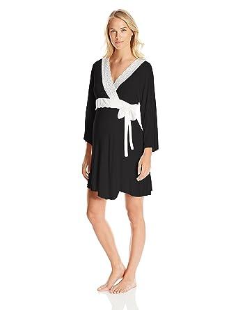39d2520b51 Belabumbum Women s Lotus Maternity and Nursing Luxe Lace Trim Robe at  Amazon Women s Clothing store