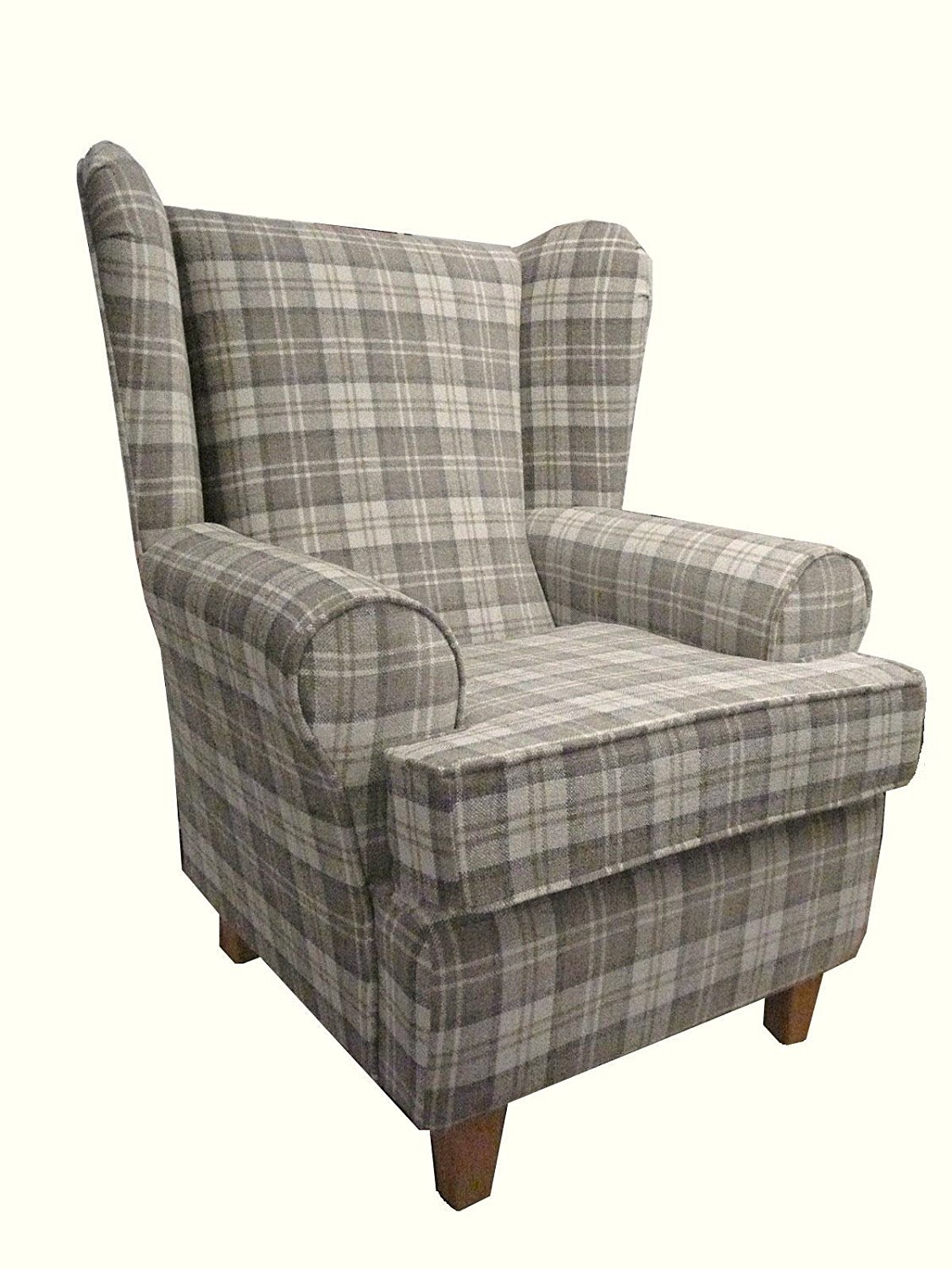 Latte Tartan Fabric Queen Anne With a Deep Base design And A