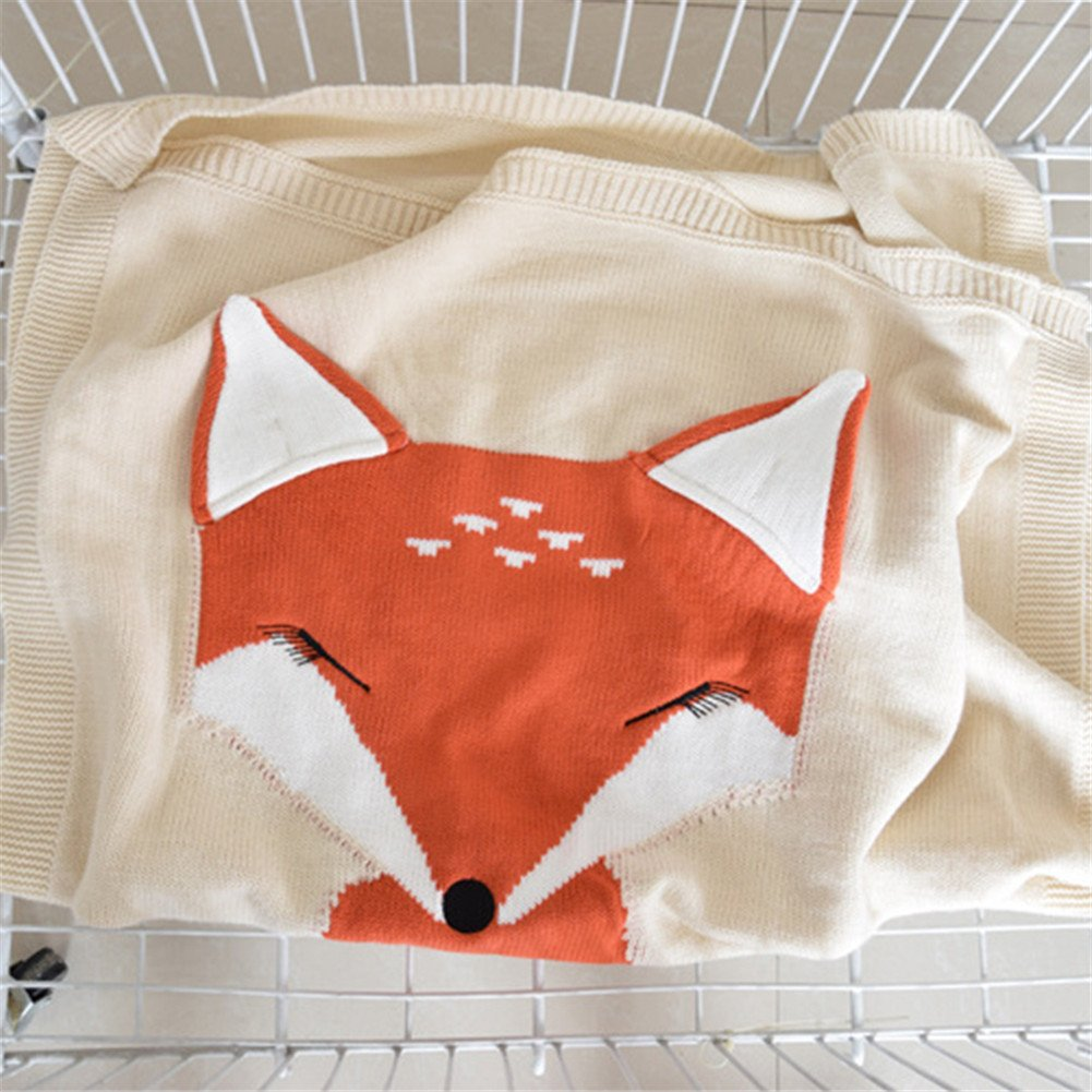 Children Knitting Blanket, Fashion Handmade Super Soft Warm Fox Cotton Cable Crocheted Throw Sleeping Cover Blanket Rug for Kids or Baby Bedroom Sofa/Bed/Couch/Car/ Living Room Quilt (Beige)