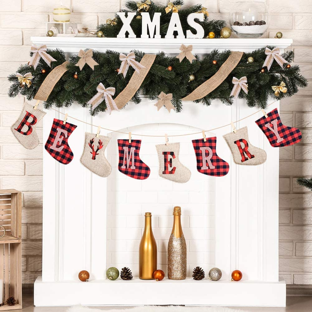 Christmas Decorations, Merry Christmas Banner, Buffalo Plaid Christmas Decorations, Buffalo Plaid Garland, Rustic Christmas Decor Made of Burlap, Country Christmas Stockings Ornaments for Firepalce