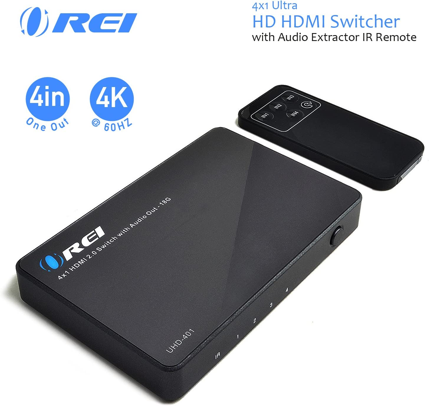 Orei Ultra HD HDMI 4 x 1 Switcher 18G Audio Extractor IR Remote - Supports Upto 4K @ 60Hz - (4 Input, 1 Output) Switch, Hub, Port for Cable, HD TV, Laptop, MacBook & More (UHD-401)