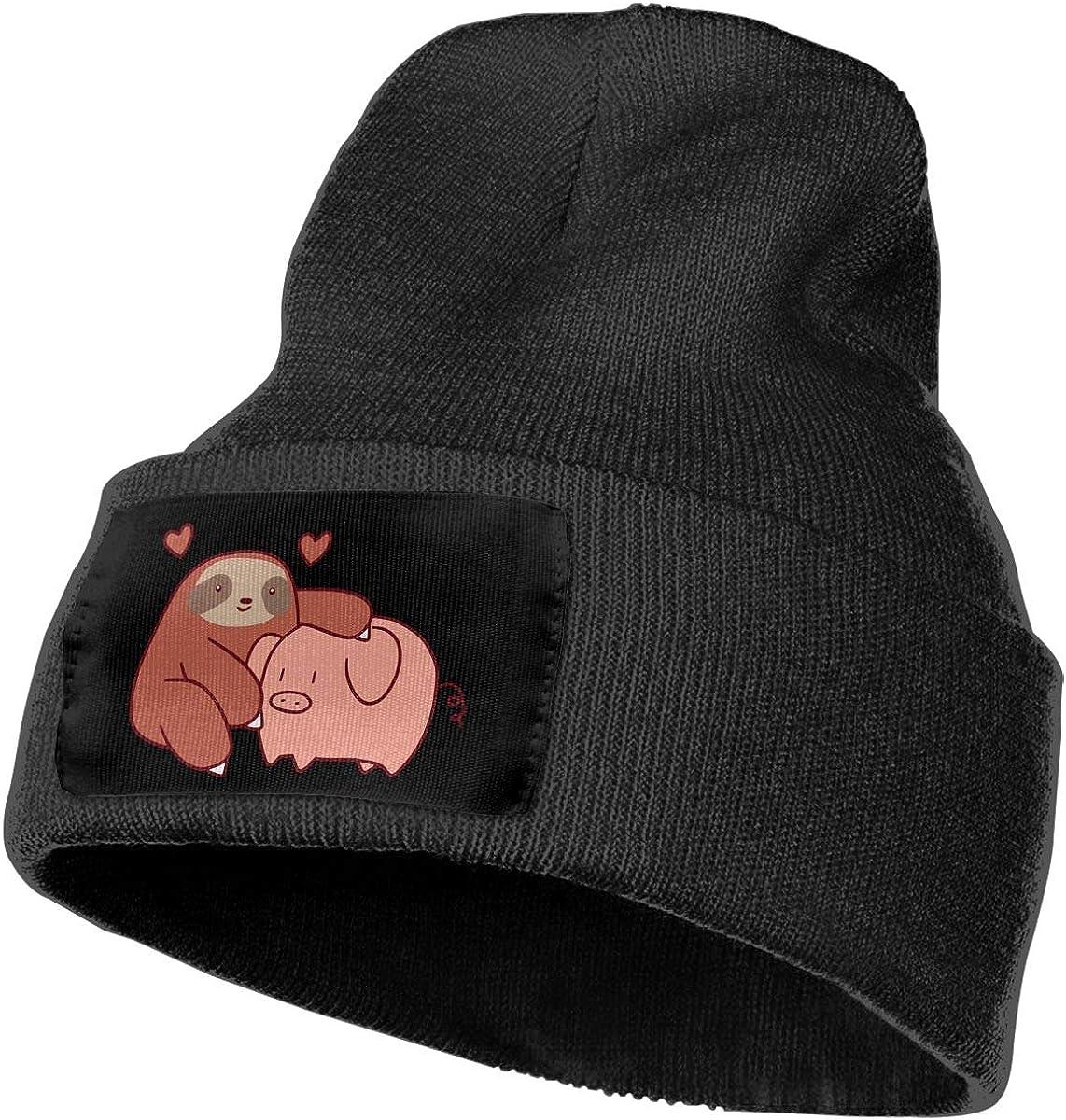 Men /& Women Sloth Loves Pig Outdoor Warm Knit Beanies Hat Soft Winter Skull Caps