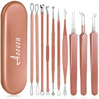 10 PCS Blackhead Remover Tool Kit, Aooeou Professional Stainless Steel Pimple Popper Tool Treatment for Blemish…