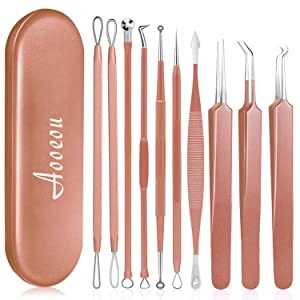 10 PCS Blackhead Remover Tool Kit, Aooeou Professional Stainless Steel Pimple Popper Tool Treatment for Blemish, Whitehead Popping, Zit Removing for Nose Face