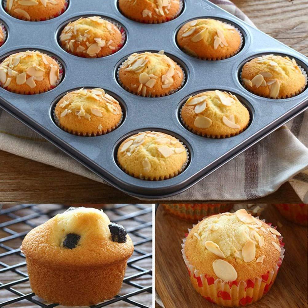 Hihey Cupcake Bakeware 12 Cup Antiaderente per Muffin per Muffin Riutilizzabile Muffin per Muffin e Stampo per Cupcake