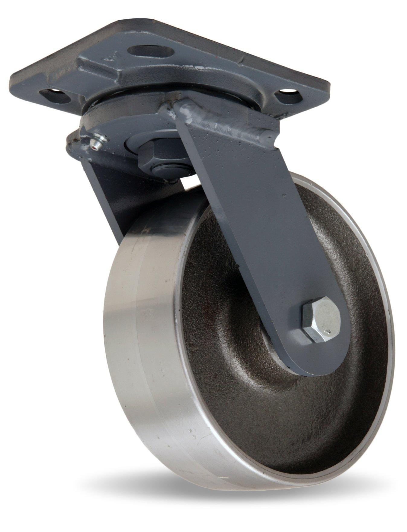 Hamilton Workhorse Plate Caster, Swivel, Steel Wheel, Precision Ball Bearing, 2000 lbs Capacity, 6'' Wheel Dia, 2'' Wheel Width, 7-1/2'' Mount Height, 5'' Plate Length, 4'' Plate Width