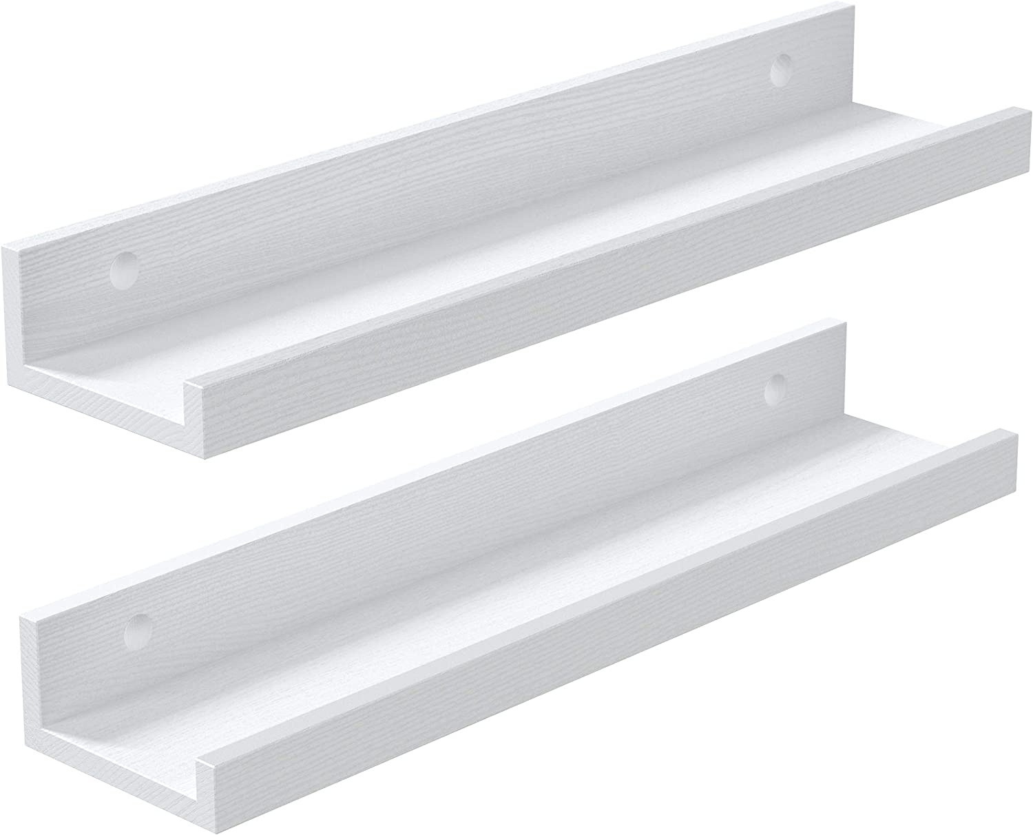Tibres | Floating Shelves for Kids Room Bedroom | Wall Shelves for Girls Boys and Teens | Wall Nursery Shelves for Books Trophies Photos Pictures | White | Solid Wood | Set of 2