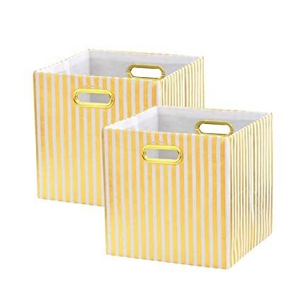 BAIST Cube Storage Bins,Nice Foldable Square Gold Fabric Decorative Cubby  Storage Cubes Bins Baskets