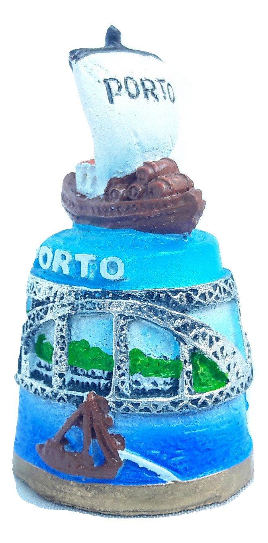 Souvenir New thimble ceramics Porto Portugal Oporto Dom Luis I Bridge Trams boat holyland souvenir