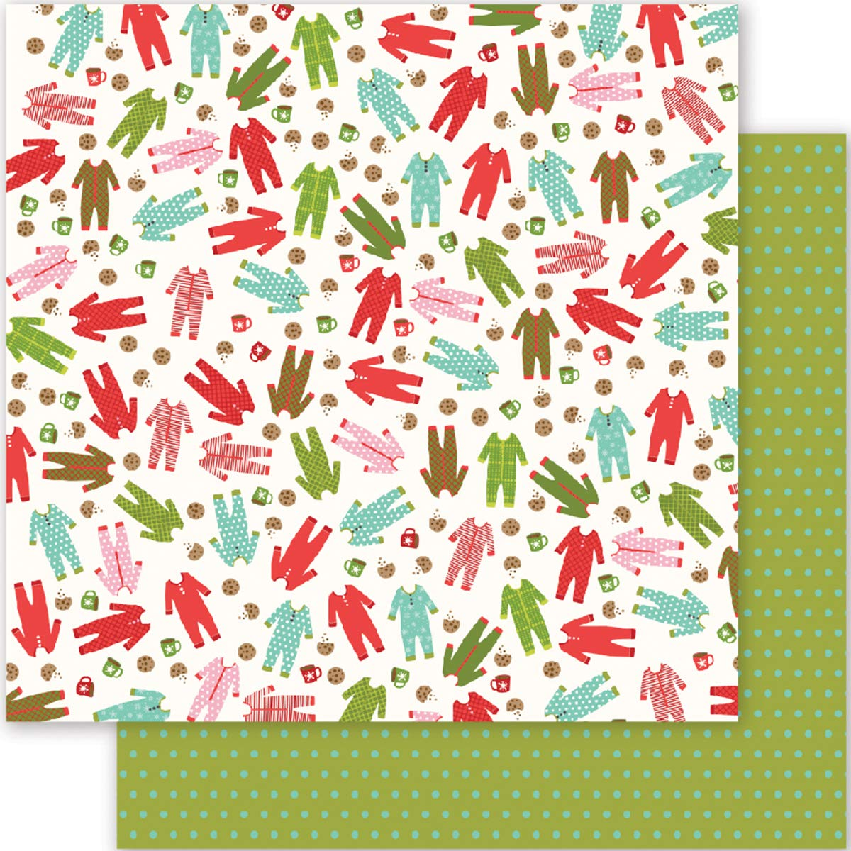 Pebbles Holly Jolly Collection Christmas 12 X 12 Double Sided Paper Pajama Party (3 Pack)
