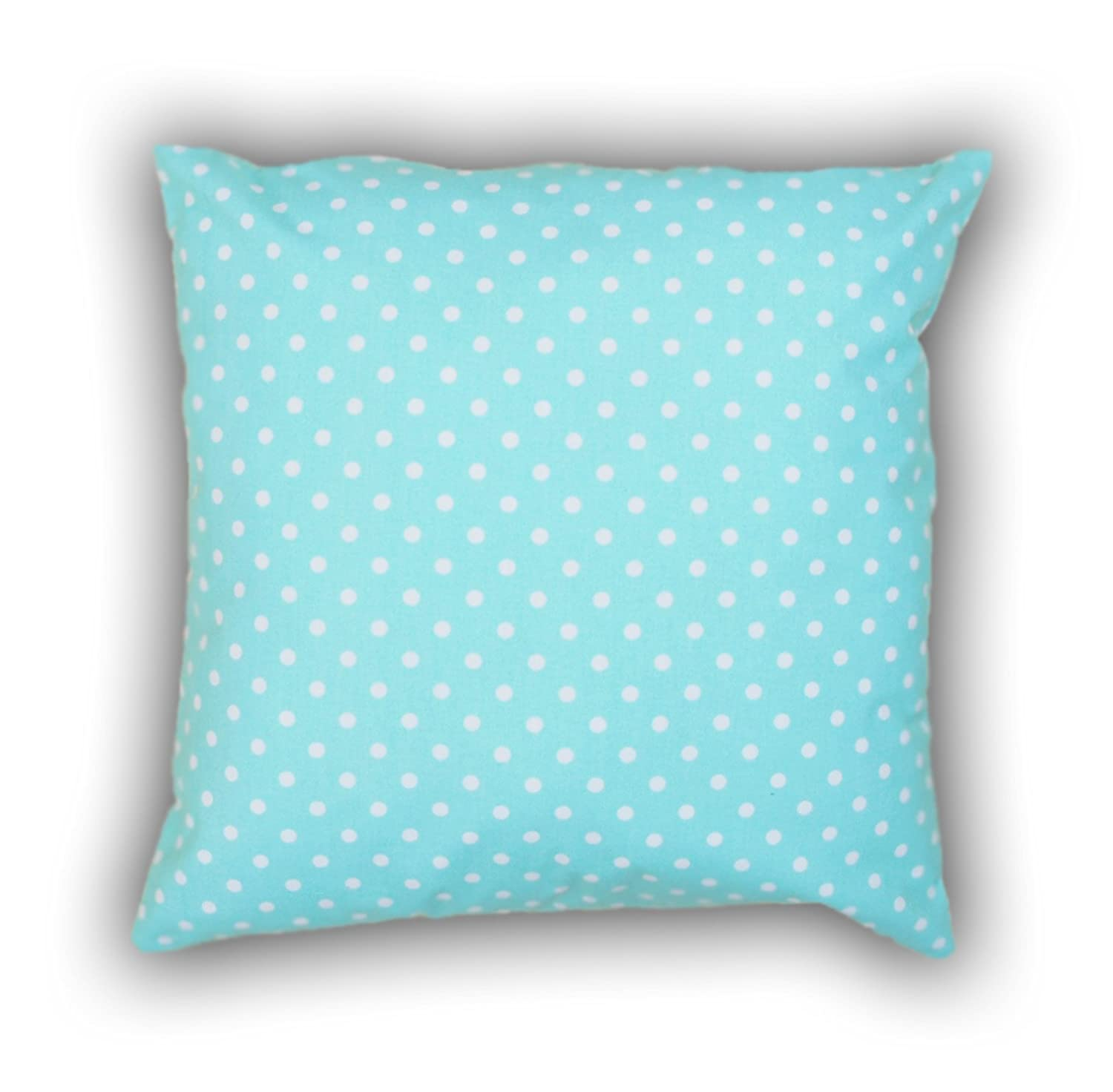 Amilian® Handcrafted Decorative Art-Deco Polka-Dots Print Turquoise/White 100% Cotton Premium Quality Durable Throw Cushion Cover Pillowcase Only 80 cm x 80 cm