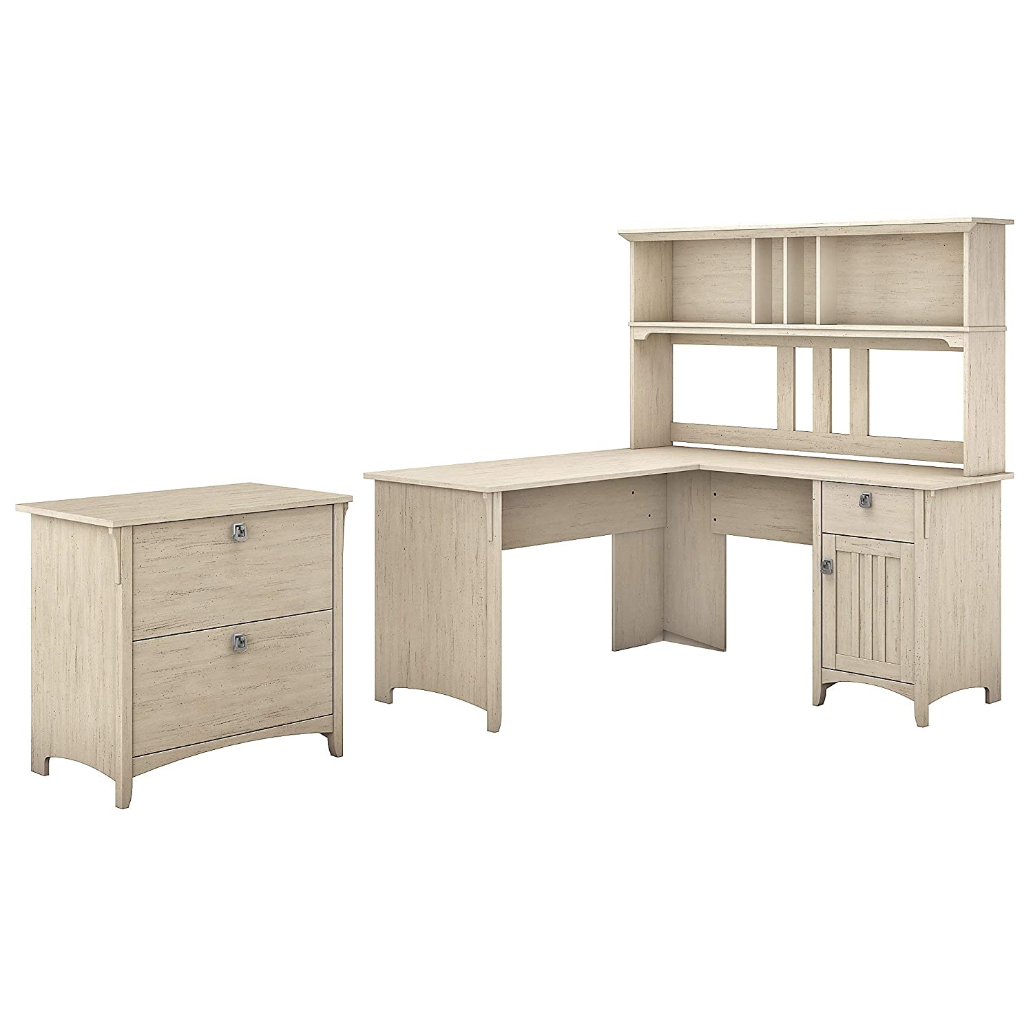 Bush Furniture SAL005AW Salinas L Shaped Desk with Hutch and Lateral File Cabinet, 60W, Antique White