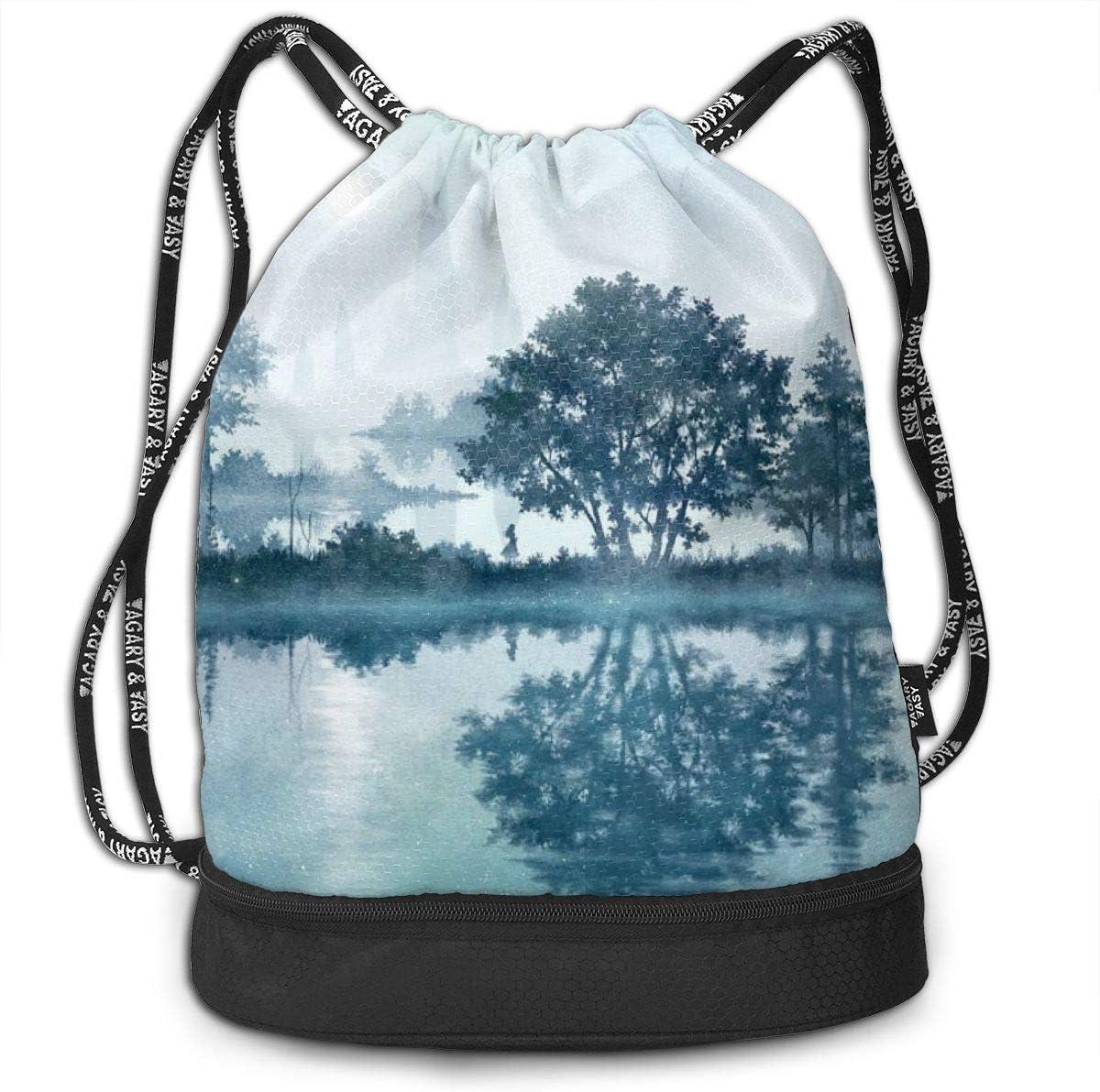 Women Fog Trees Mountain Printed Sackpack Kji Gym Sack Drawstring Bag Sport Cinch Pack Backpack for Men