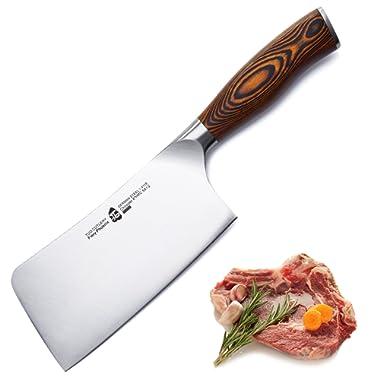 TUO Cutlery Meat Cleaver Chopper Knife - HC German Stainless steel - Kitchen Knife - Ergonomic Pakkawood Handle - 6  - Fiery Series