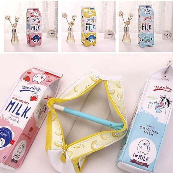 Fablcrew - Estuche con cremallera, diseño de cartón de leche, color amarillo 20*5*6 cm