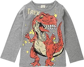 H.eternal Dinosaur Tyrannosaurus Rex Cartoon Pullover Sweatshirt Long Sleeve Tops T-Shirt Casual Jumper Cotton Tee Shirts Children Blouse