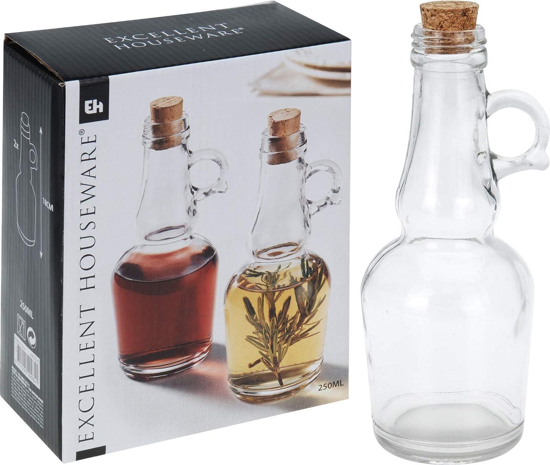 Abrus/® Oil and Vinegar Dispenser Set with Handle Classic Cork Stopper Premium Glass Construction
