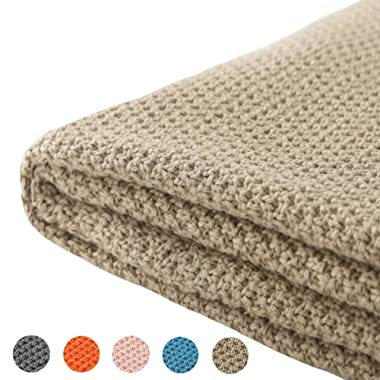 Treely 100% Cotton Cable Knit Throw Blanket for Couch Chair Bed Home Decorative,Soft & Cozy Knit Throws(Khaki,50 x60 )