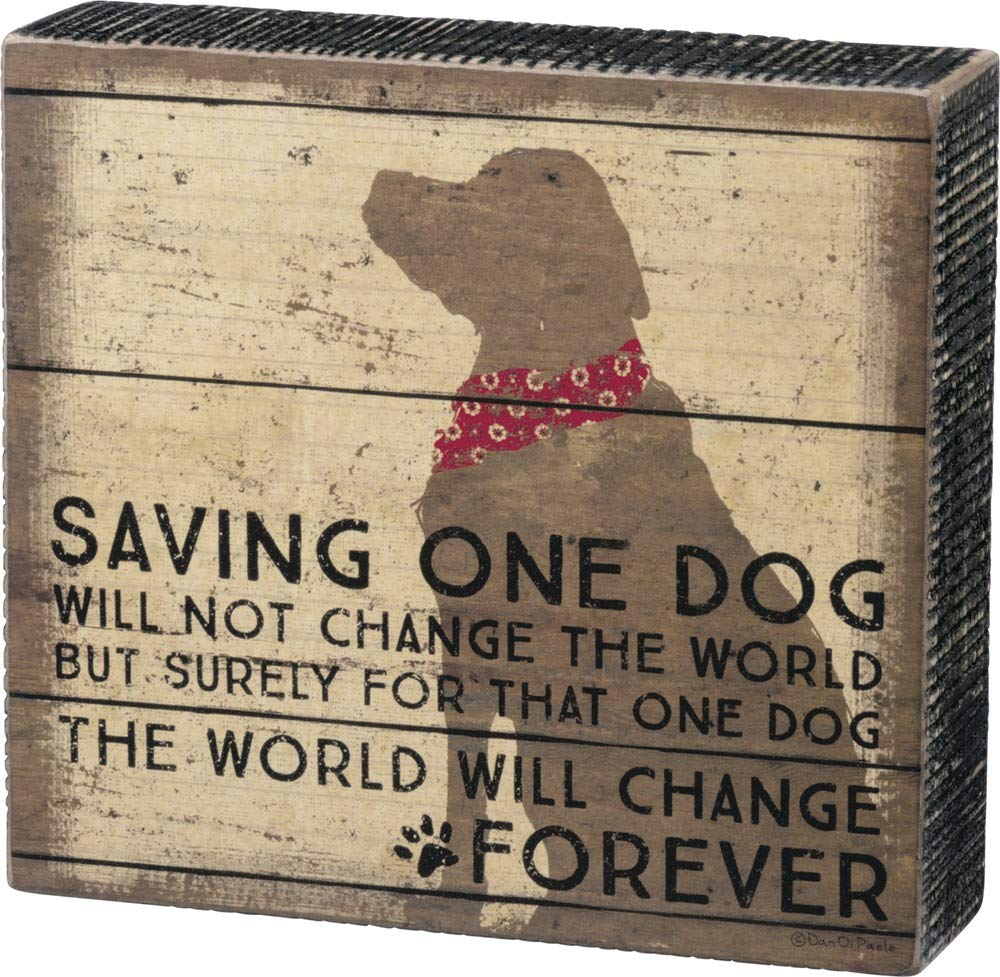 Primitives by Kathy Distressed Box Sign, One Dog