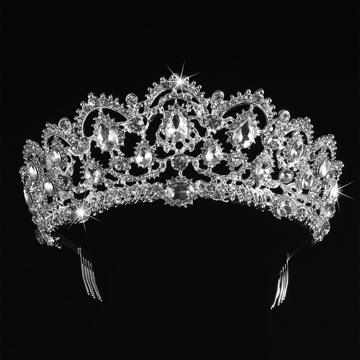 Tiara Crowns, Rhinestone Crystal Queen Tiara Headband Wedding Pageant Crowns Princess Crown for Women