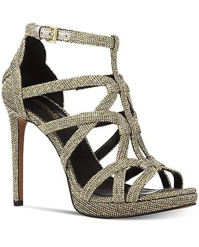 04c8586f752 Michael Michael Kors Sandra Platform Caged Dress Sandals Black Gold (10)