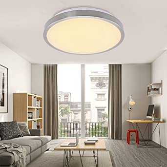 12W Deckenleuchte LED Deckenbeleuchtung Panel für Wohnzimmer Küche Korridor  Warmweiß Rund Lampen decke Küchenleuchte Ø344mm [Energieklasse A++]