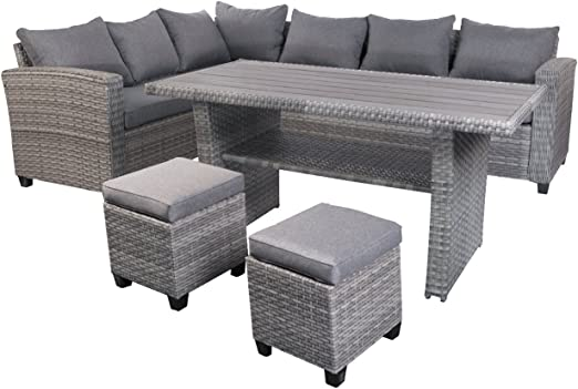 FineHome - Conjunto de Muebles de jardín de 5 Piezas, de ratán, Conjunto de Asientos, Muebles de jardín, Mesa de jardín, sofá de jardín, Gris: Amazon.es: Jardín