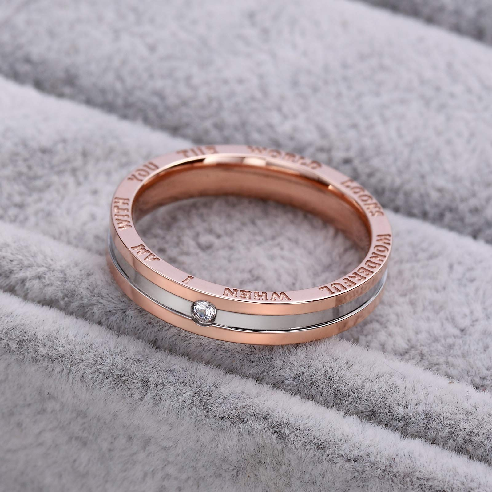 Dec.bells Silver Rose Gold Two Tone Stainless Steel Promise Ring Band Small Ring for Her (Size 5) by Dec.bells (Image #6)
