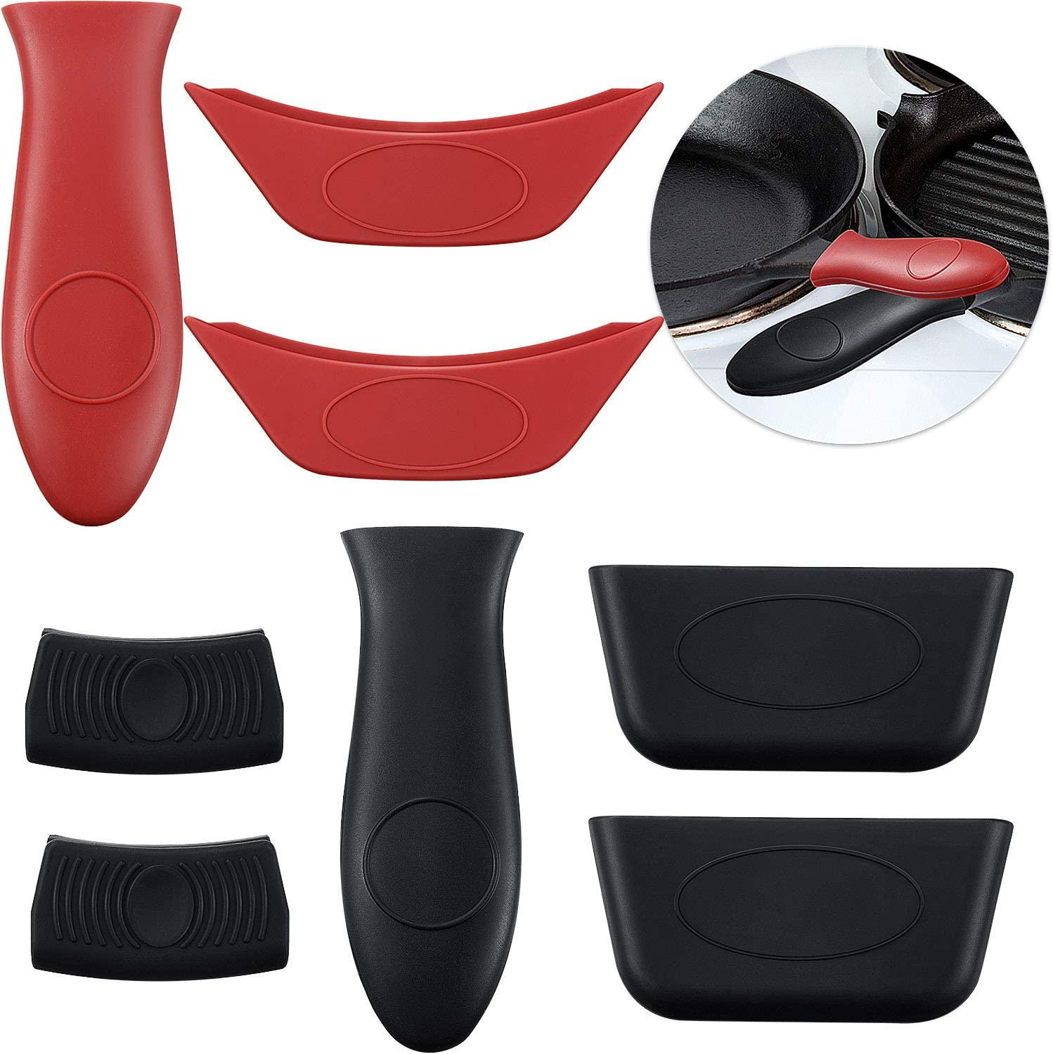 Boao 8 PCS Silicone Hot Handle Holders and Pot Holders Cover Removable Rubber Hot Resistant Pot Holder Sleeves Lid Covers for Cast Iron Skillets Metal Frying Pans Aluminum Cookware Handles: Kitchen & Dining