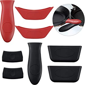 Boao 8 PCS Silicone Hot Handle Holders and Pot Holders Cover Removable Rubber Hot Resistant Pot Holder Sleeves Lid Covers for Cast Iron Skillets Metal Frying Pans Aluminum Cookware Handles
