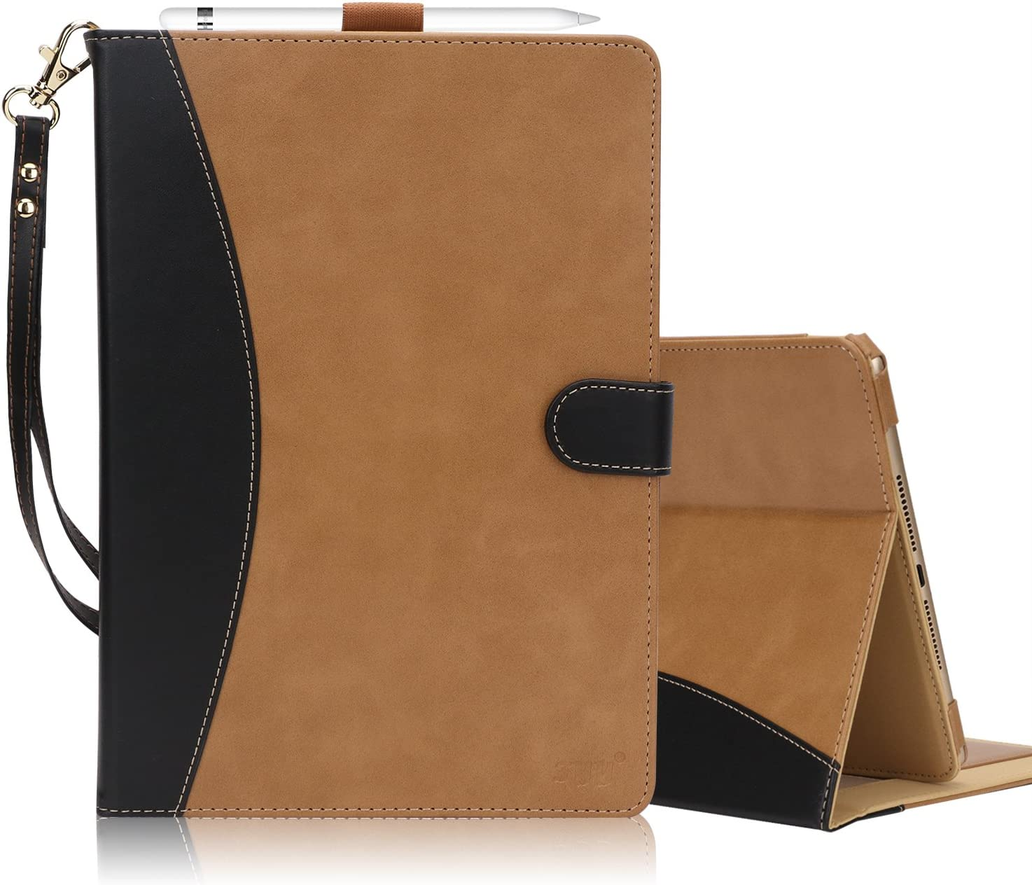 FYY [Leather Case] with [Apple Pencil Holder] for Apple iPad 9.7 2018/2017/iPad Air 2/iPad Air, Flip Folio Stand Case Protective Cover with [Auto Sleep Wake], Multiple Stand Angles, Card Slots Brown