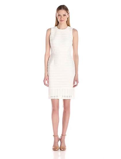 Amazon Com Calvin Klein Women S Lace Sheath Dress White 8 Clothing