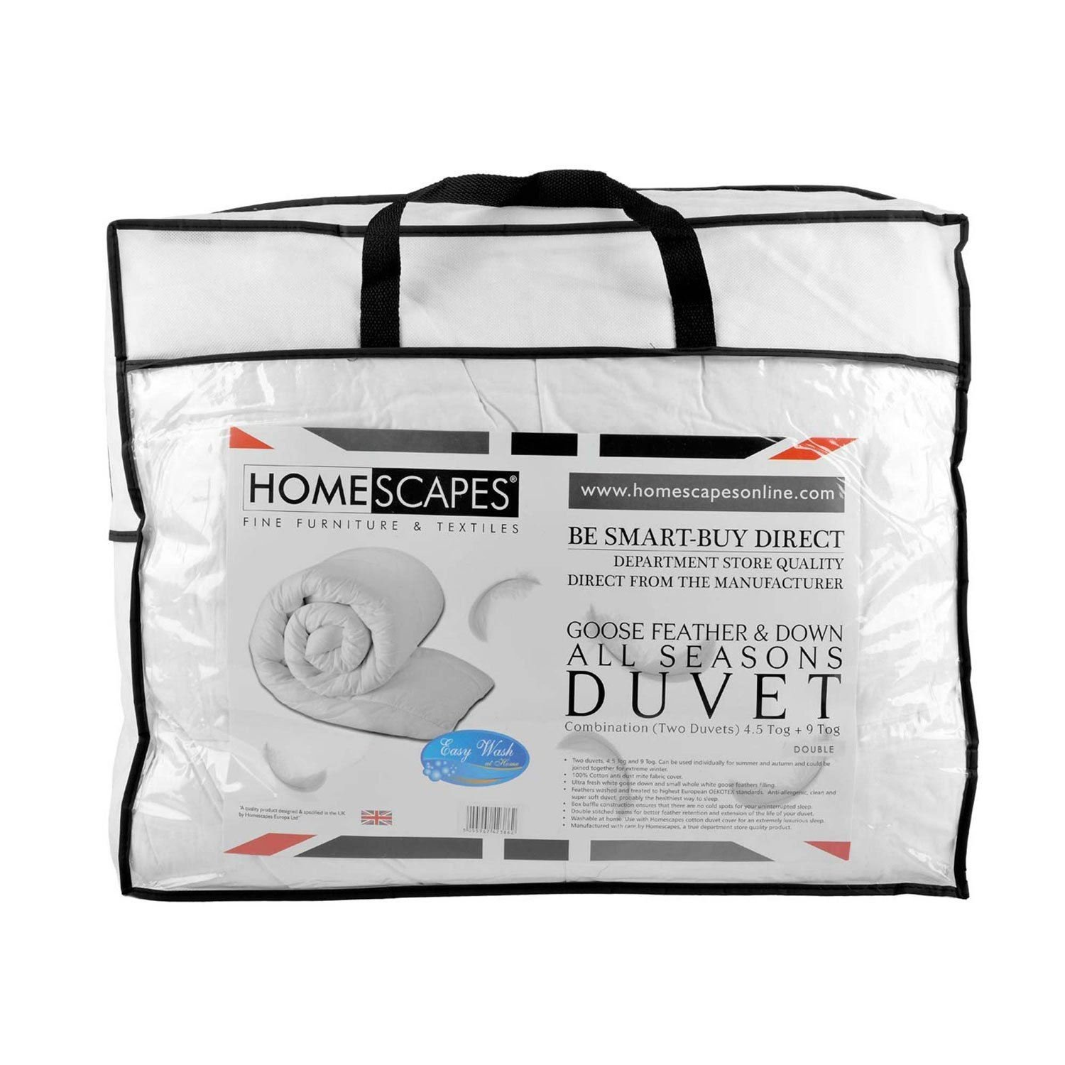 Homescapes Single All Seasons (9 Tog + 4.5 Tog) - Luxury White Goose Feather & Down Duvet - 100% Cotton Anti Dust Mite & Down Proof Fabric - Anti Allergen - Quilt