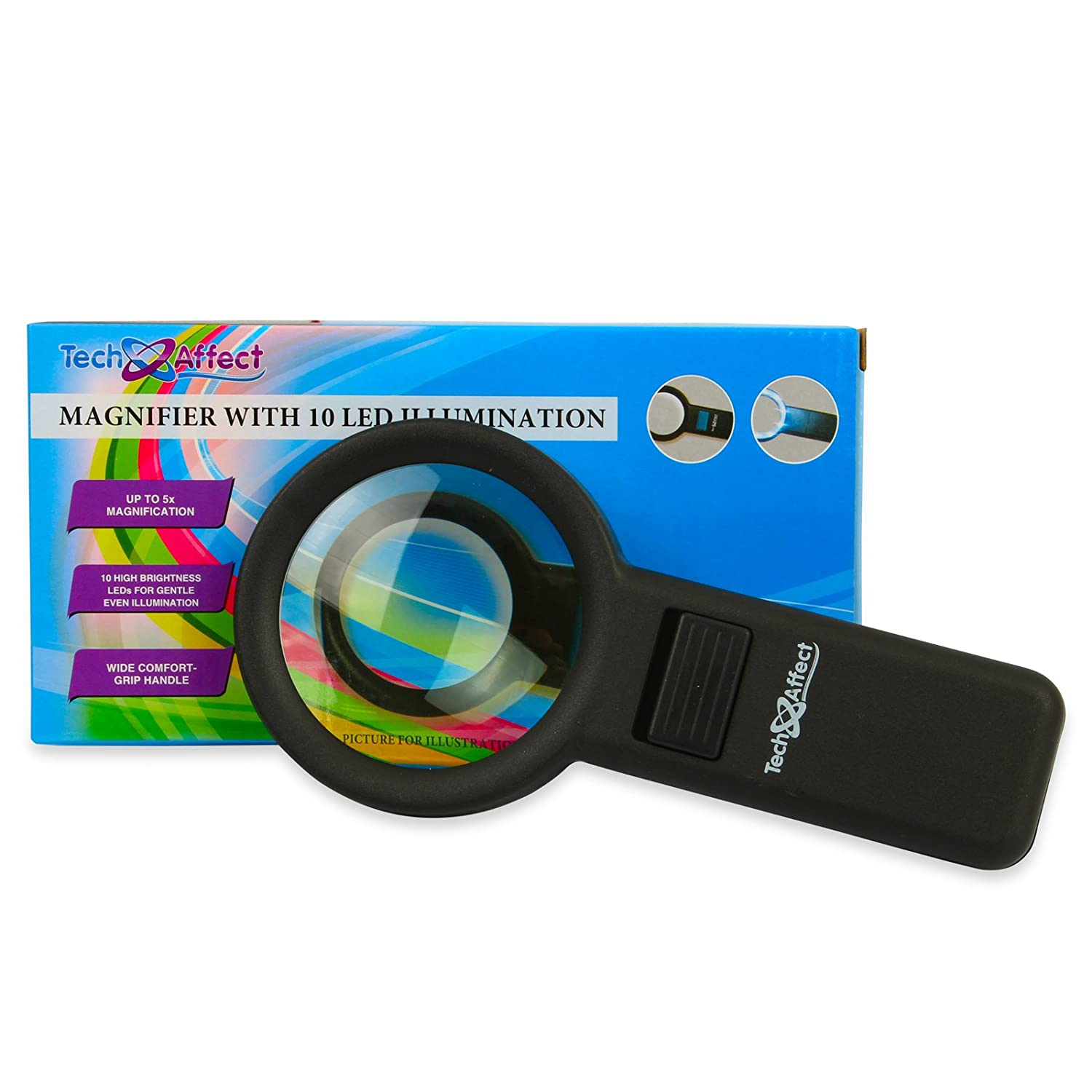 Colour: Blac These Quality Viewing Glasses are Large but Lightweight with a Comfortable Handle so are an Ideal Reading Aid for the Partially Sighted or Anyone Hand held Lighted Magnifying Glass Illuminated Magnifier with 5x Magnification and 10 LED Lamp
