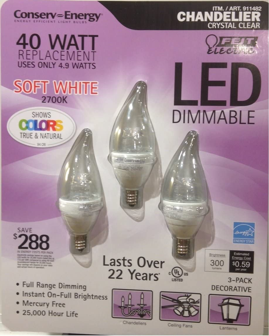 Feit LED Candelabra light bulb 5w compared with 60w bulbs in chandelier