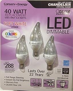 Feit 4.8 Watt = 40 Watts LED Candelabra Light Bulbs 3-Pack 3000K ...