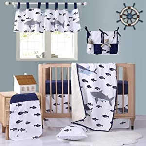 Brandream Baby Crib Bedding Sets for Boys with Long Crib Rail Cover Nautical Ocean Shark Design, 100% Hypoallergenic Cotton
