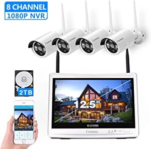 All in one with 12.5″ Monitor Wireless Security Camera System, Cromorc Home Business CCTV Surveillance